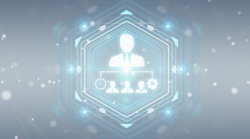 Business leadership chart digital interface 3D rendering vector illustration