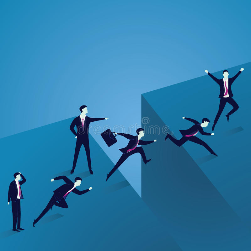 Business Leadership Concept. Businessmen Led to Across Gap Challenge vector illustration