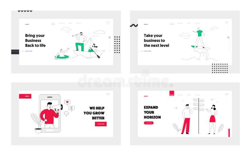 Business Leadership, Social Media Blogging, Crossroad Website Landing Page Set Business People Lifestyle, Choisir la route illustration stock