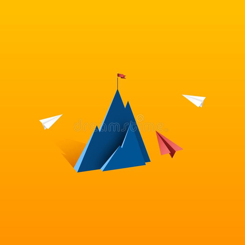 Business leadership and success concept flat design. Paper airplane teamwork flying to red flag on the top of mountain.Business leadership and success concept royalty free illustration