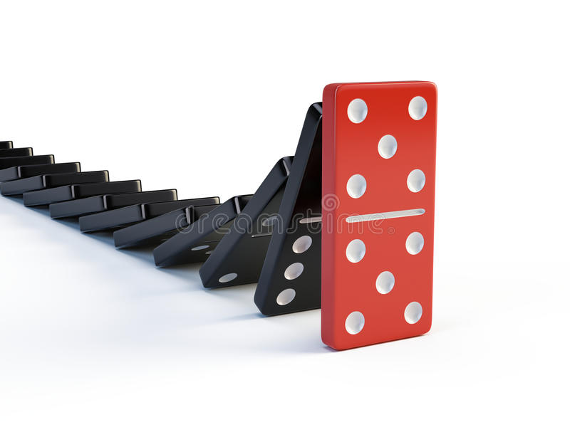 Business, leadership and teamwork concept - Red domino stops falling other dominoes royalty free illustration