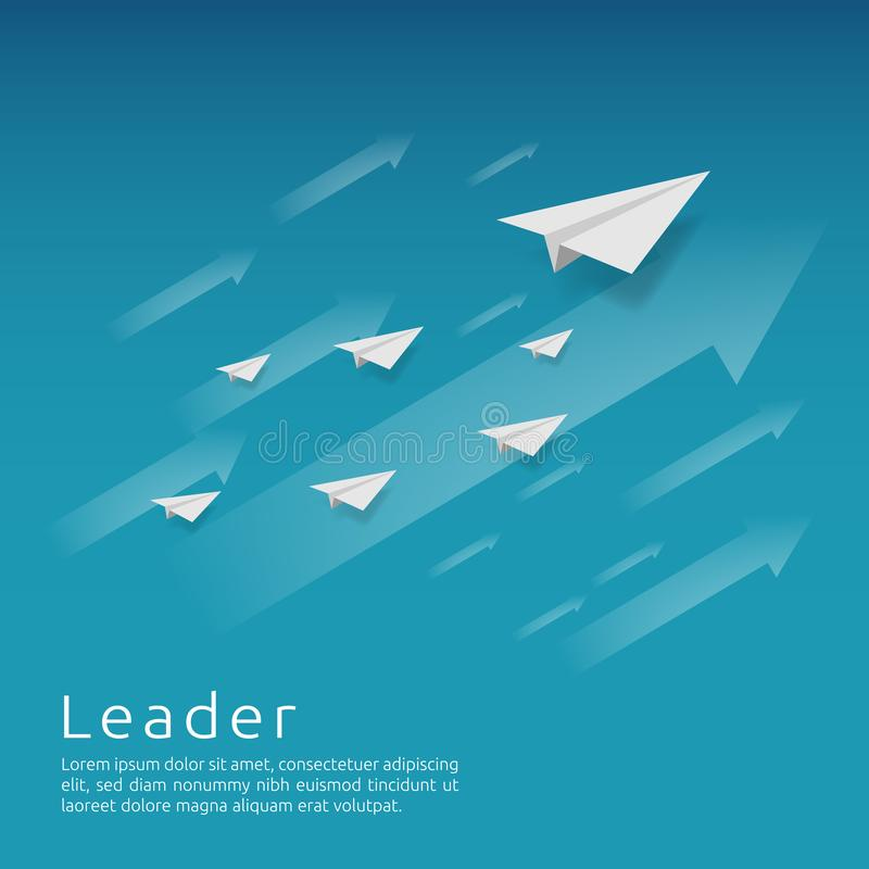 Business leadership and teamwork. paper plane group flying with arrow direction on blue sky. strategy, efficiency, innovation in f. Inance concept. banner flat vector illustration