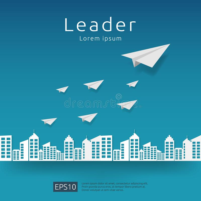 Business leadership and teamwork. paper plane group flying with arrow direction on blue sky. strategy, efficiency, innovation in f. Inance concept. banner flat royalty free illustration