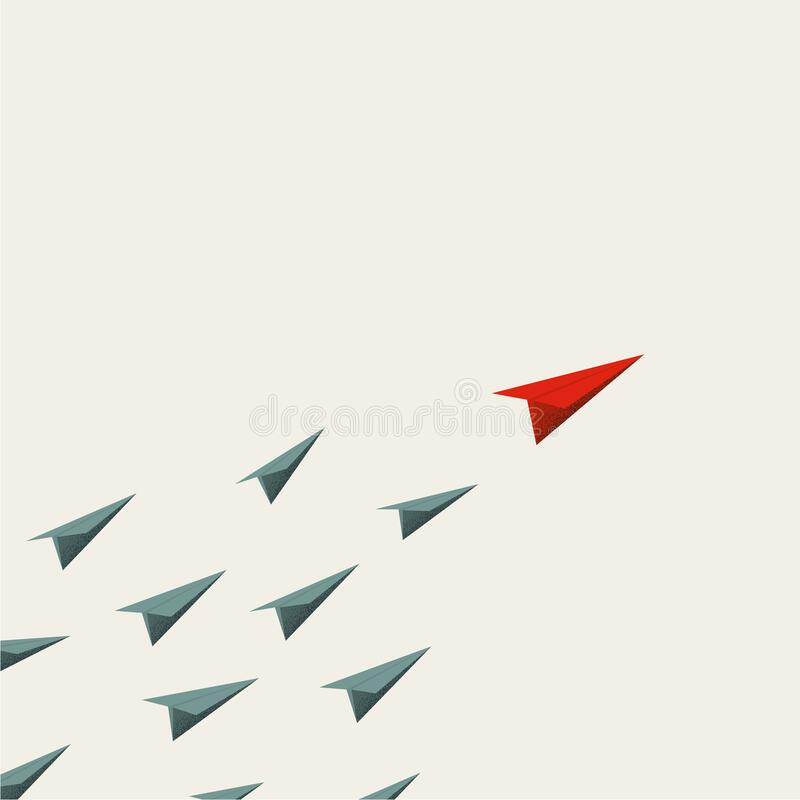 Free Business Leadership Vector Cocnept With Paper Planes Following Leader. Symbol Of Success, Inspiration. Stock Photos - 207969203