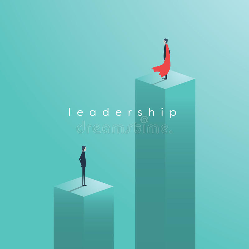 Business leadership vector concept with leader as superhero. royalty free illustration