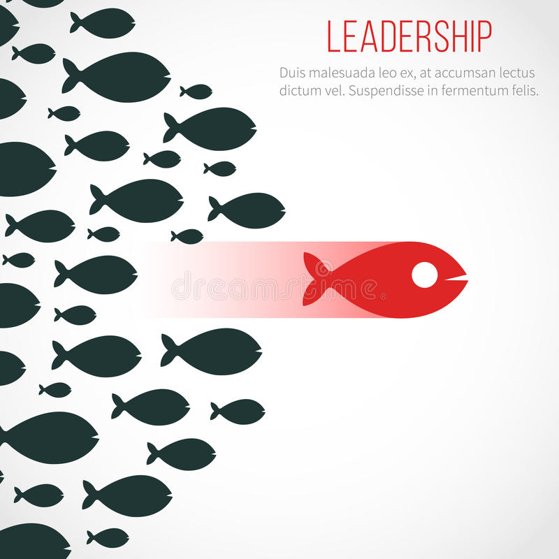 Business leadership vector concept with red leader fish and winning team royalty free illustration