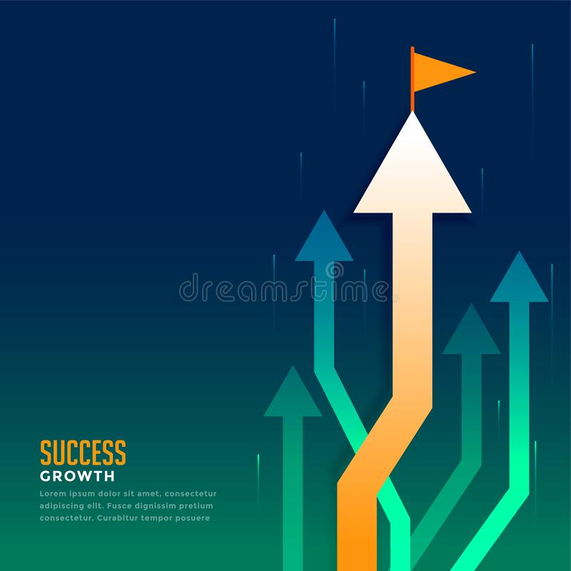 Business leading arrow with flag. Vector vector illustration