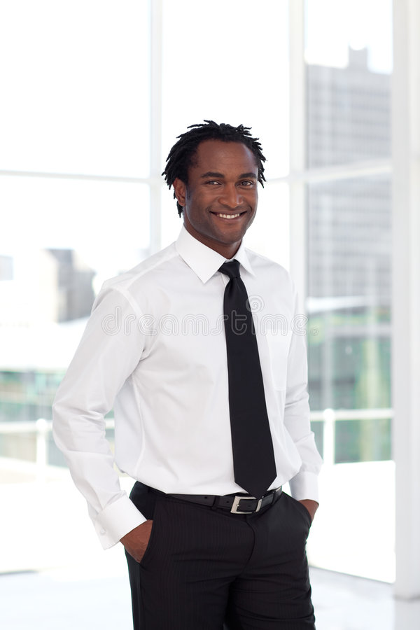 Business leading smiling at camera royalty free stock image