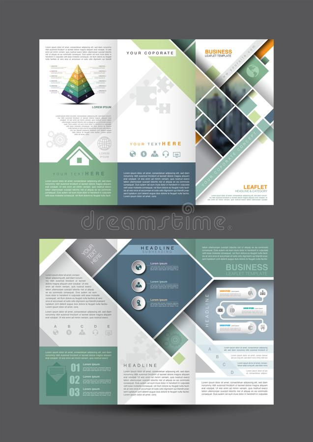 Business leaflet template. Square design and graphic a4 scale, blue green and orange color theme, icon with symbol element, vector illustration vector illustration