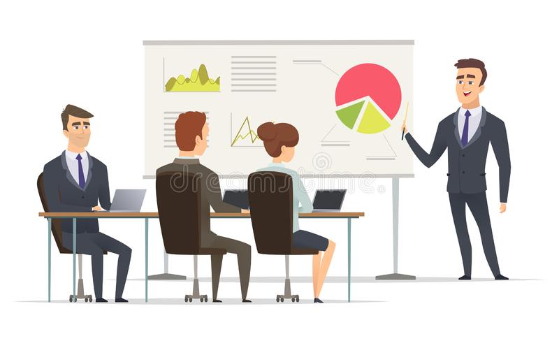 Business lesson. Teacher Manager learning on lecture office presentation concept marketing plan on whiteboard vector. Meeting peoples. Office lesson business vector illustration