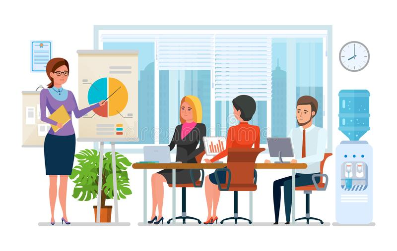 Business lessons, trainings, staff training. Teaching, research with colleagues, partners. royalty free illustration