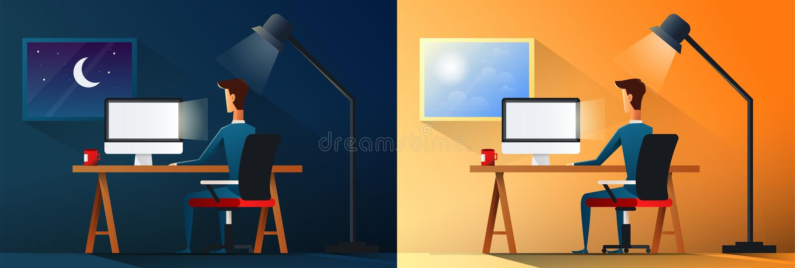 Business life or designer workaholic worker in office day and night scene vector illustration royalty free illustration