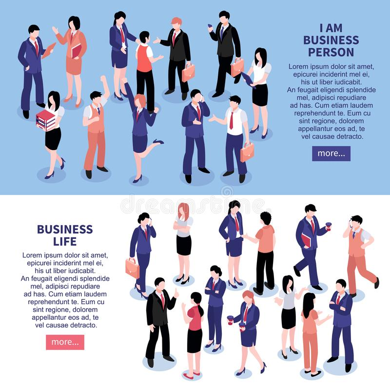 Business People Horizontal Banners royalty free illustration
