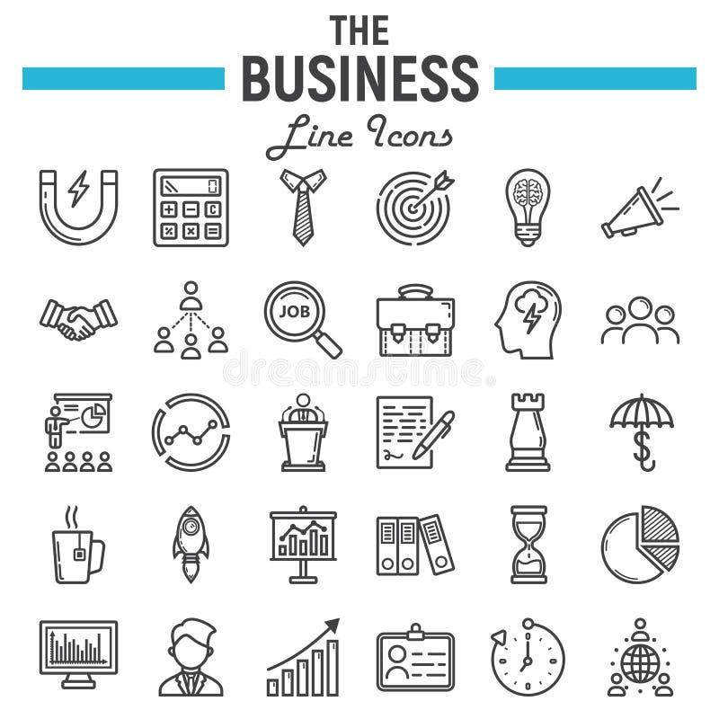 Business line icon set, finance symbols collection stock illustration