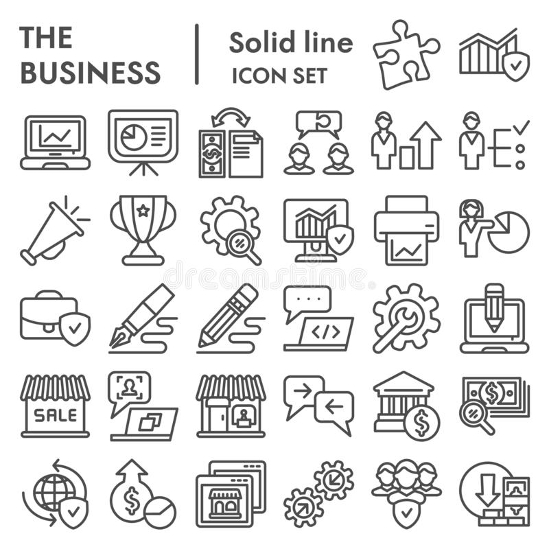 Business line icon set, management symbols collection, vector sketches, logo illustrations, marketing signs linear vector illustration