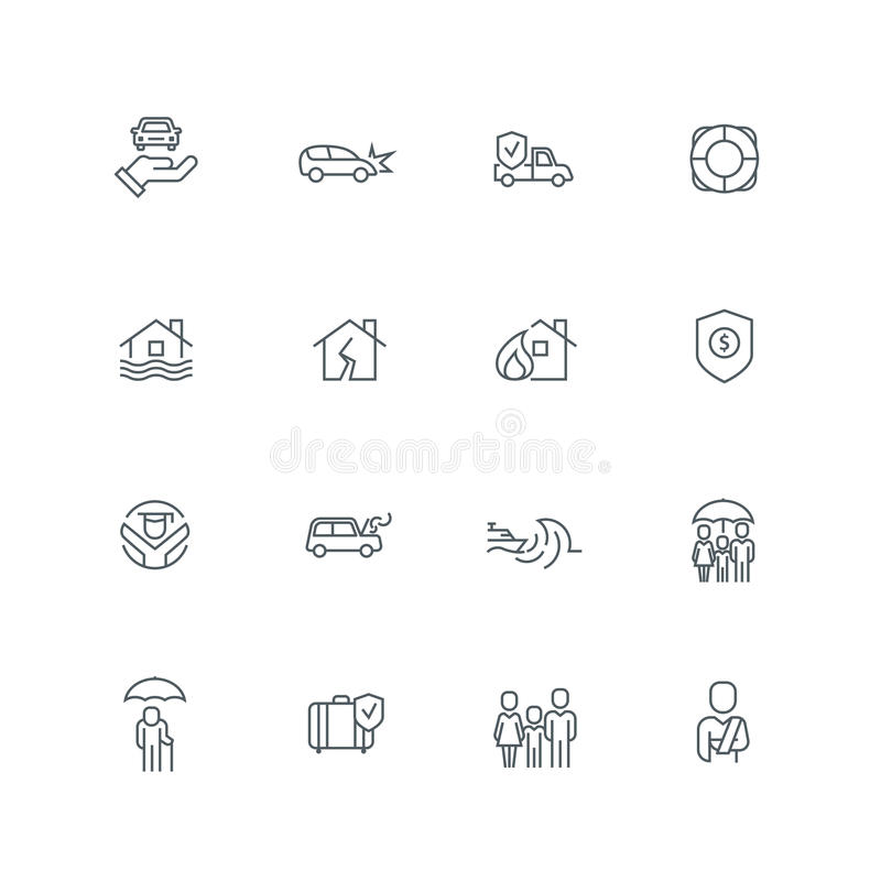 Business Line Icon Set. Business people insurance related line icon collection. Vector illustration set royalty free illustration