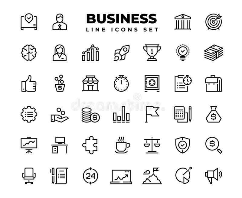 Business line icons. Finance target service support career award presentation idea strategy solution. Business vector stock illustration