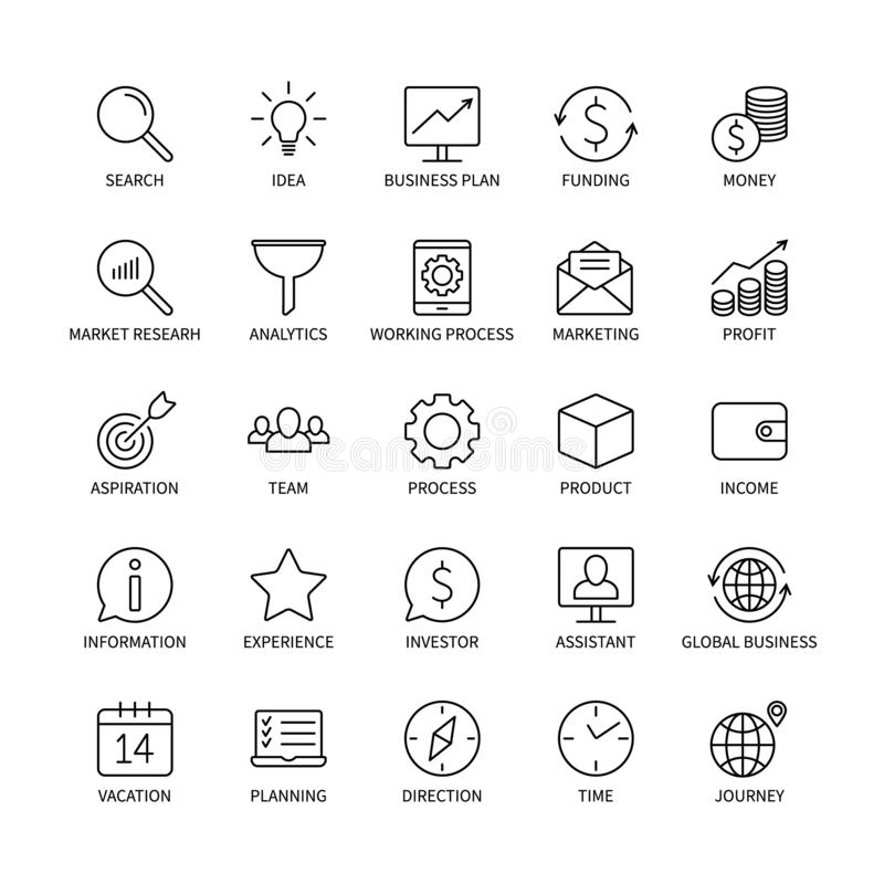 Business line icons money commerce analysis bank contact social media technology logistics search idea income marketing royalty free illustration