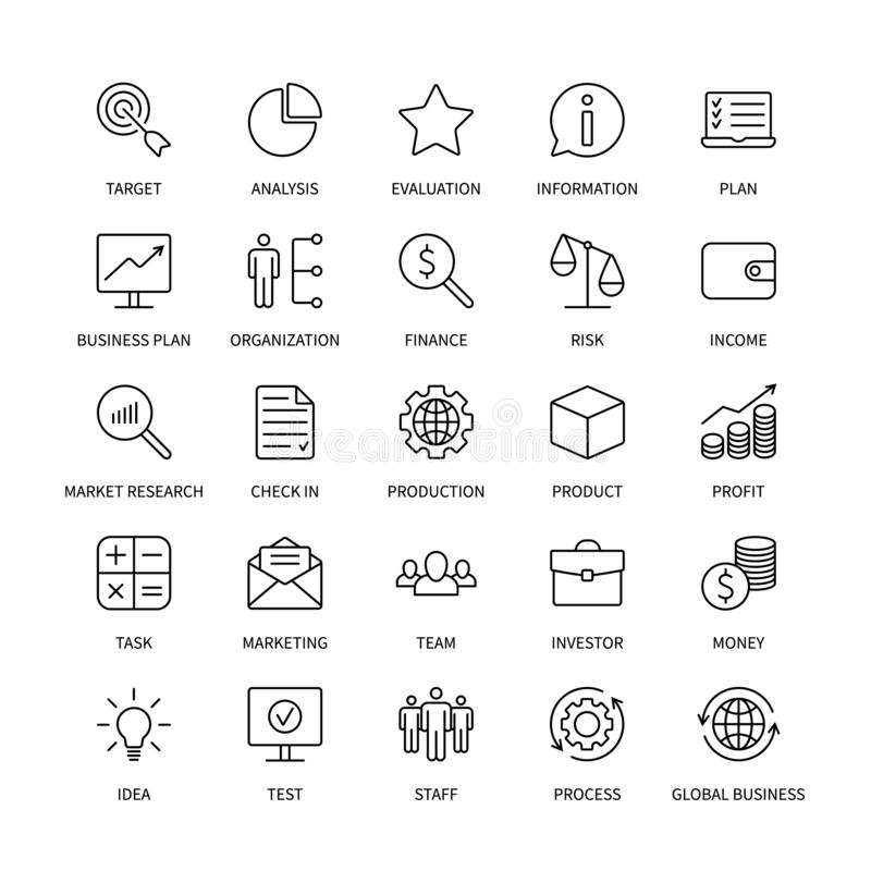 Business line icons organization product money commerce analysis bank contact social media technology logistics search stock illustration