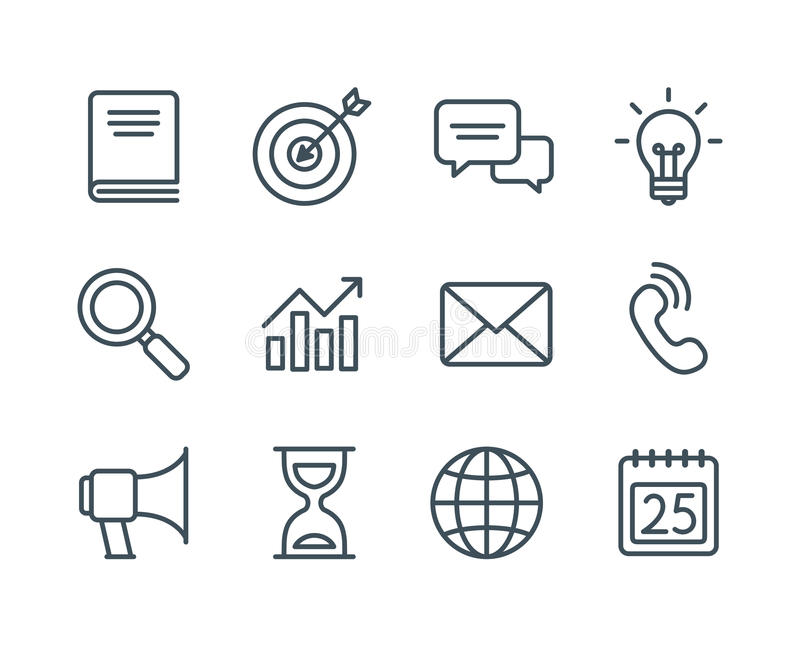 Business line icons. Set of business line icons, simple and clean modern vector style. Business symbols and metaphors in thin outlines with editable stroke royalty free illustration