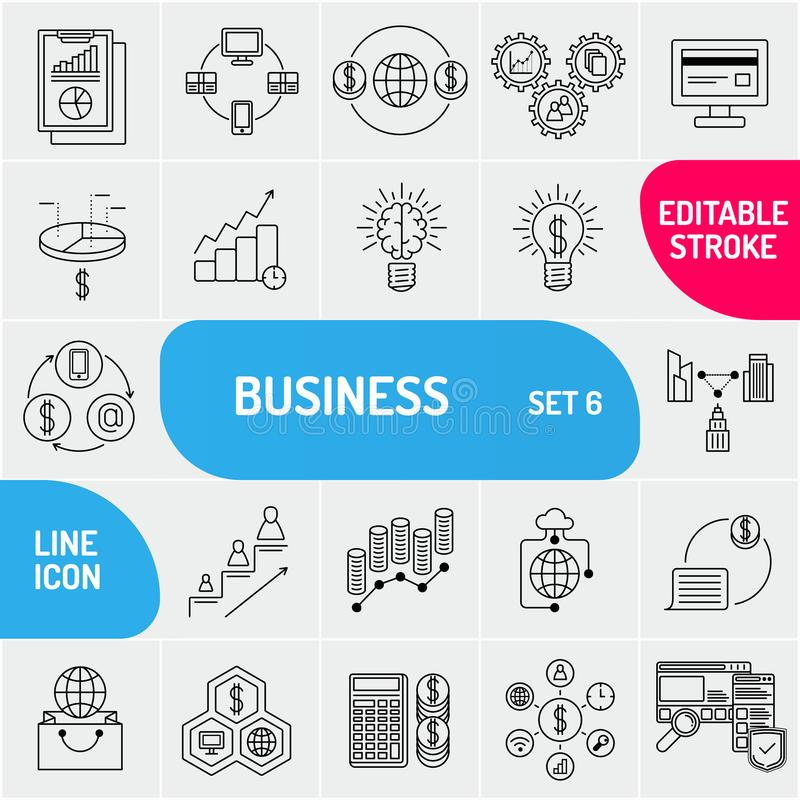 Business line icons. Universal business icons set. Can use for web and mobile. Vector illustration. stock illustration