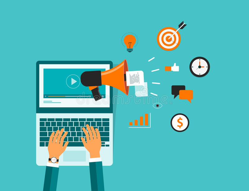 Business on line video marketing content. And technology video marketing concept. business communication .business advertise concept vector illustration