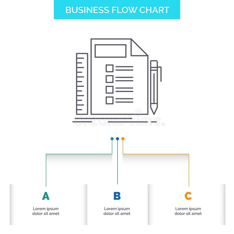 Business, list, plan, planning, task Business Flow Chart Design with 3 Steps. Line Icon For Presentation Background Template Place vector illustration