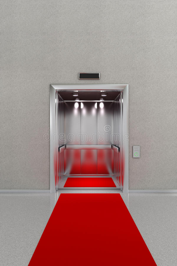 Open elevator with red carpet royalty free illustration