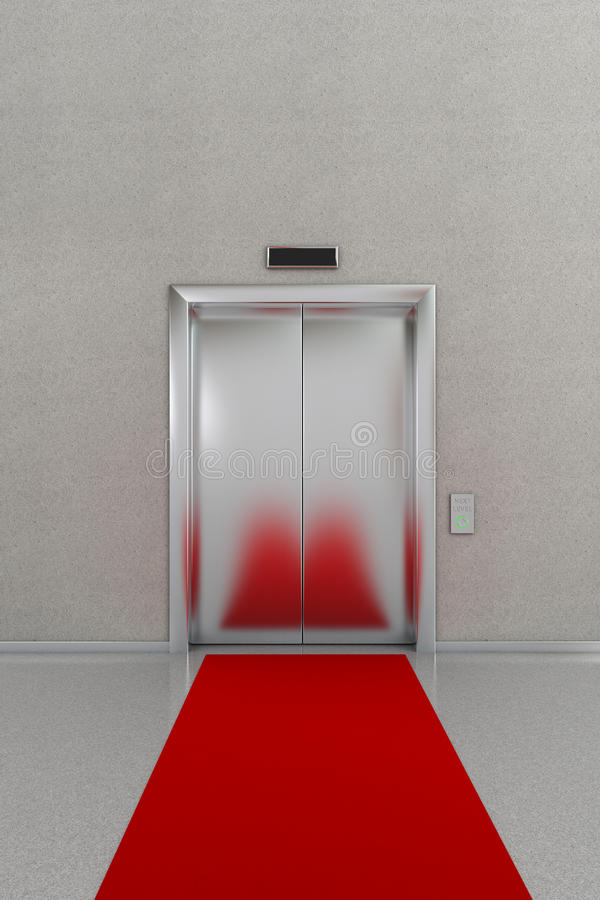 Closed elevator with red carpet stock illustration