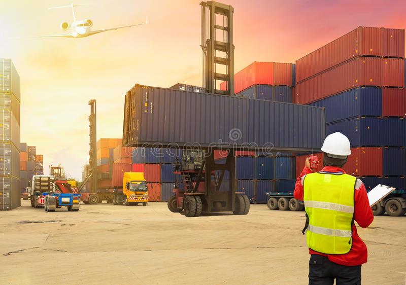 Business logistic concept, Foreman control loading Containers bo royalty free stock photos