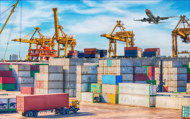 Business Logistics concept, plane and  truck for Logistic Import Export background stock photo