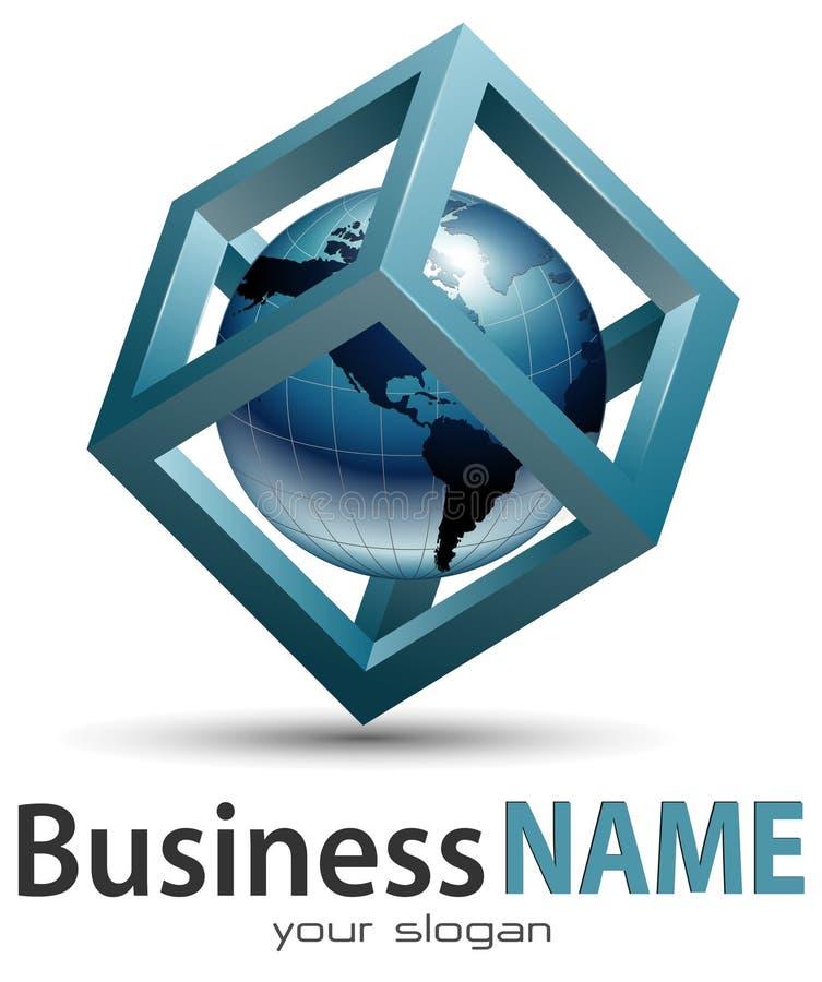 Business logo. Earth globe inside cube