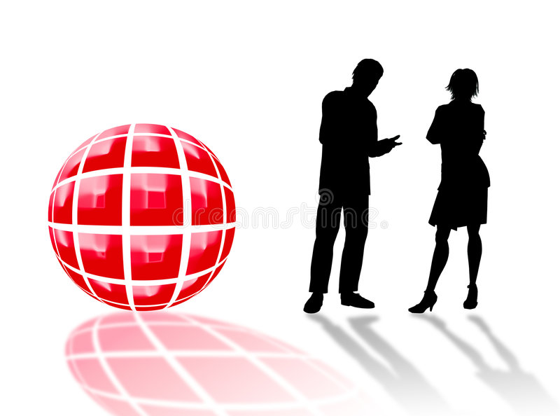 Business logo. Illustration with business people in s black silhouette stock illustration