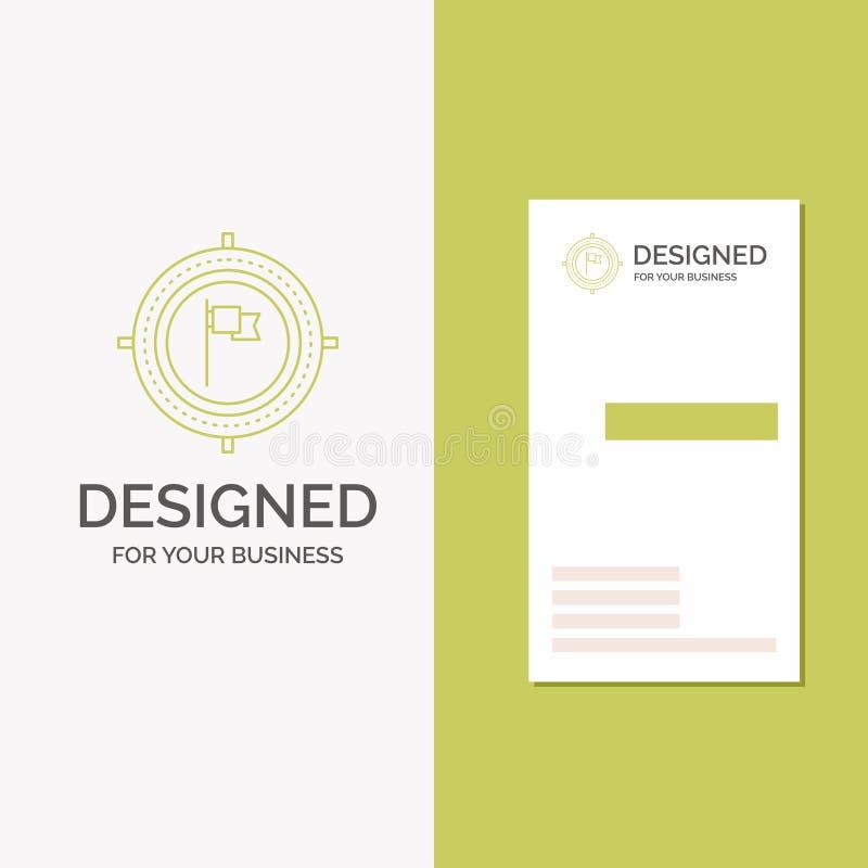 Business Logo for Aim, business, deadline, flag, focus. Vertical Green Business / Visiting Card template. Creative background stock illustration