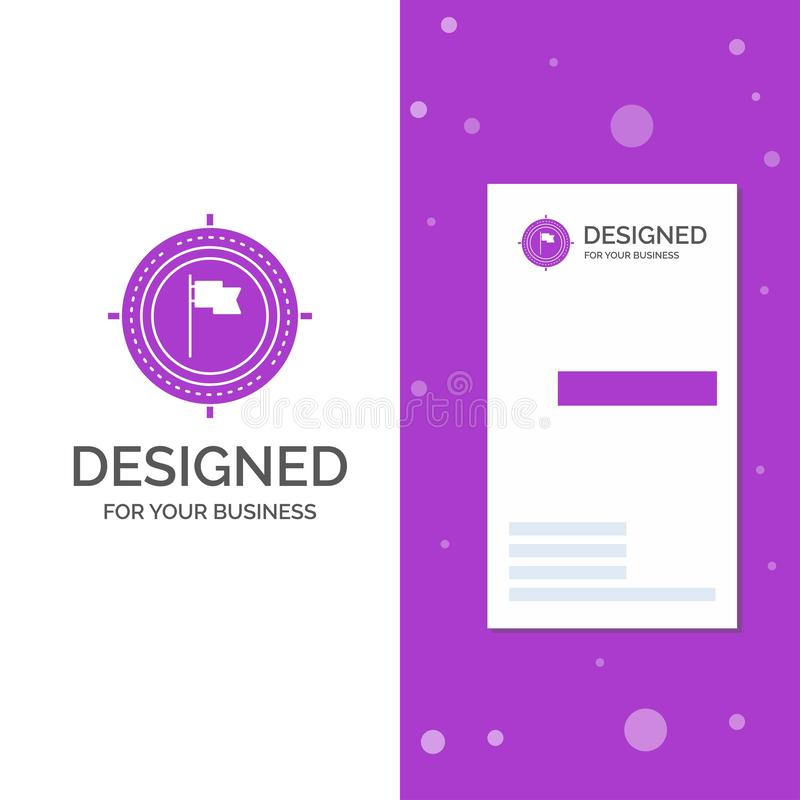 Business Logo for Aim, business, deadline, flag, focus. Vertical Purple Business / Visiting Card template. Creative background royalty free illustration