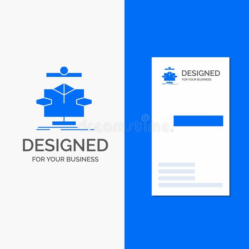 Business Logo for Algorithm, chart, data, diagram, flow. Vertical Blue Business / Visiting Card template. Vector EPS10 Abstract Template background stock illustration