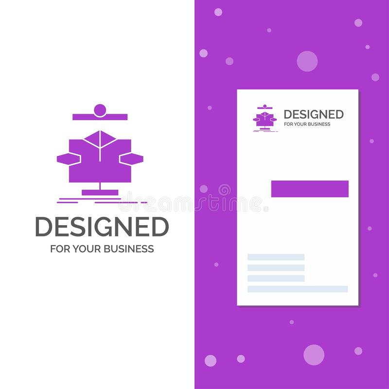 Business Logo for Algorithm, chart, data, diagram, flow. Vertical Purple Business / Visiting Card template. Creative background royalty free illustration