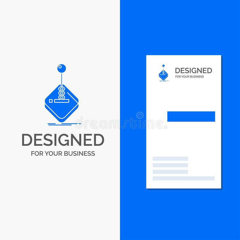 Business Logo for arcade, game, gaming, joystick, stick. Vertical Blue Business / Visiting Card template. Vector EPS10 Abstract Template background royalty free illustration