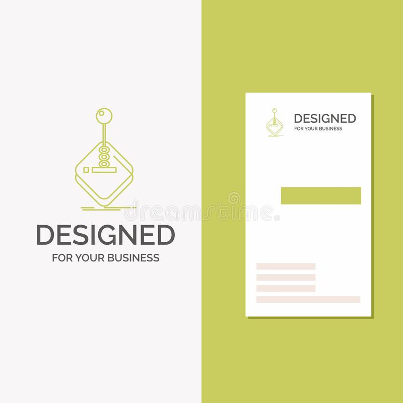 Business Logo for arcade, game, gaming, joystick, stick. Vertical Green Business / Visiting Card template. Creative background. Vector illustration. Vector vector illustration