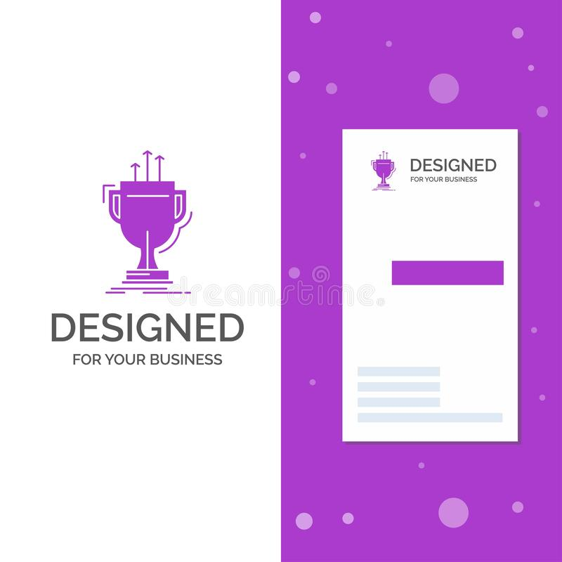 Business Logo for award, competitive, cup, edge, prize. Vertical Purple Business / Visiting Card template. Creative background. Vector illustration. Vector royalty free illustration