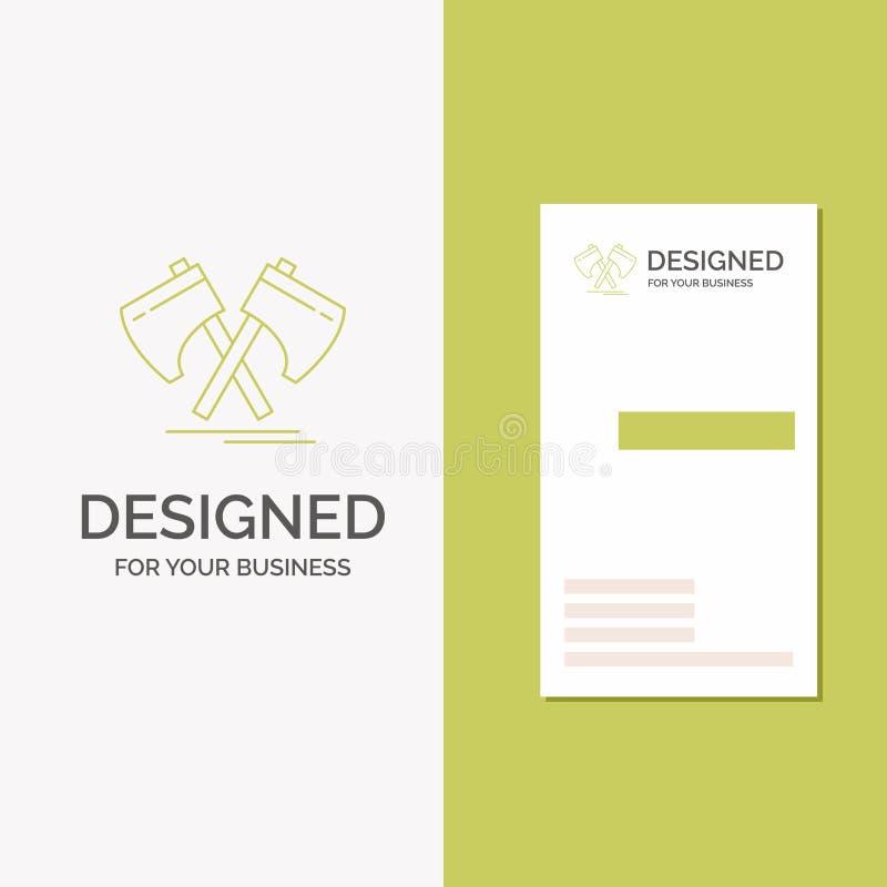 Business Logo for Axe, hatchet, tool, cutter, viking. Vertical Green Business / Visiting Card template. Creative background vector. Illustration. Vector EPS10 vector illustration