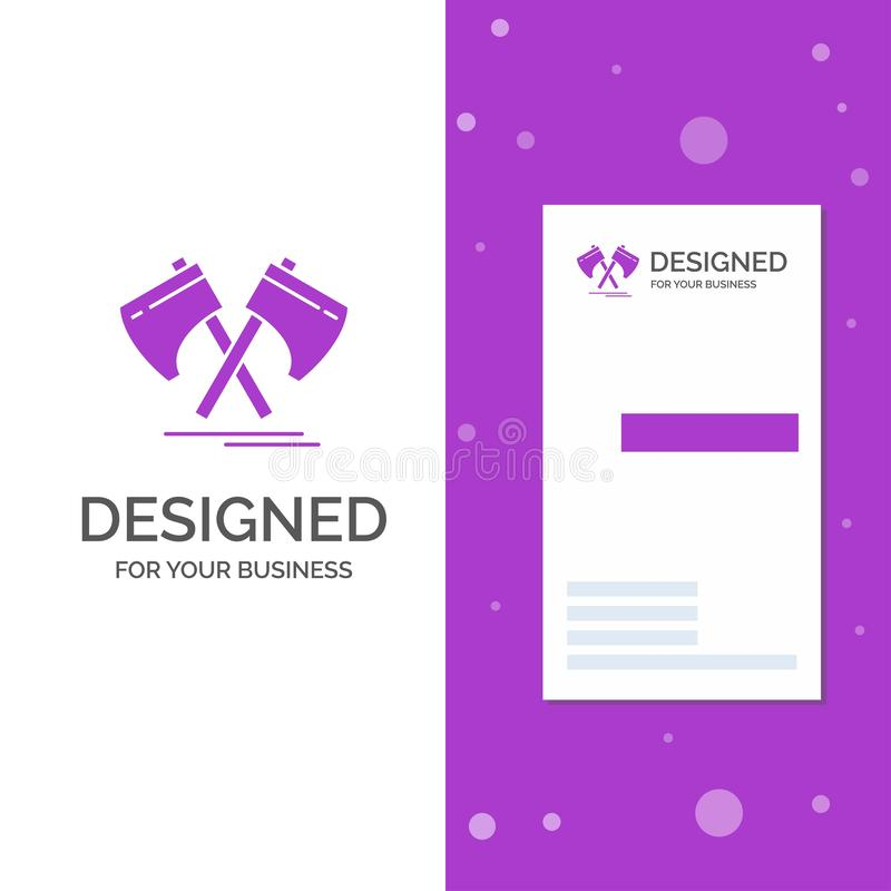 Business Logo for Axe, hatchet, tool, cutter, viking. Vertical Purple Business / Visiting Card template. Creative background. Vector illustration. Vector EPS10 stock illustration