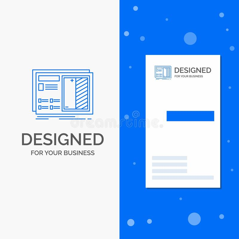 Business Logo for Blueprint, design, drawing, plan, prototype. Vertical Blue Business / Visiting Card template vector illustration