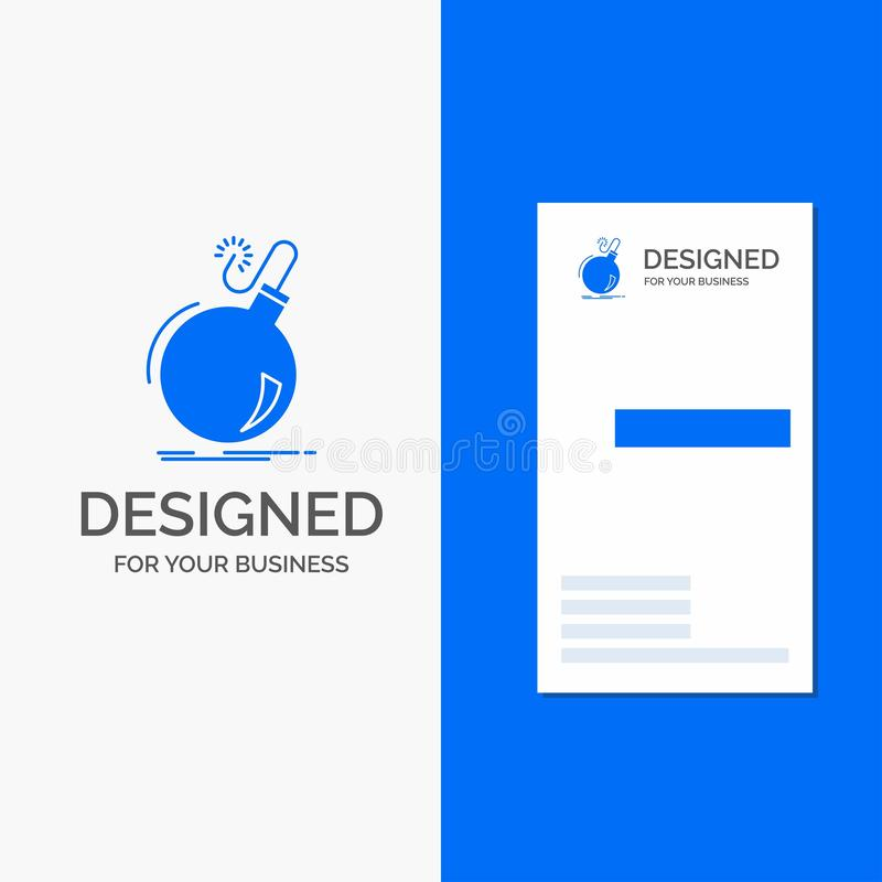 Business Logo for Bomb, boom, danger, ddos, explosion. Vertical Blue Business / Visiting Card template royalty free illustration