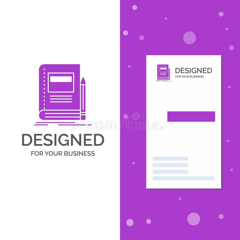 Business Logo for Book, business, education, notebook, school. Vertical Purple Business / Visiting Card template. Creative vector illustration