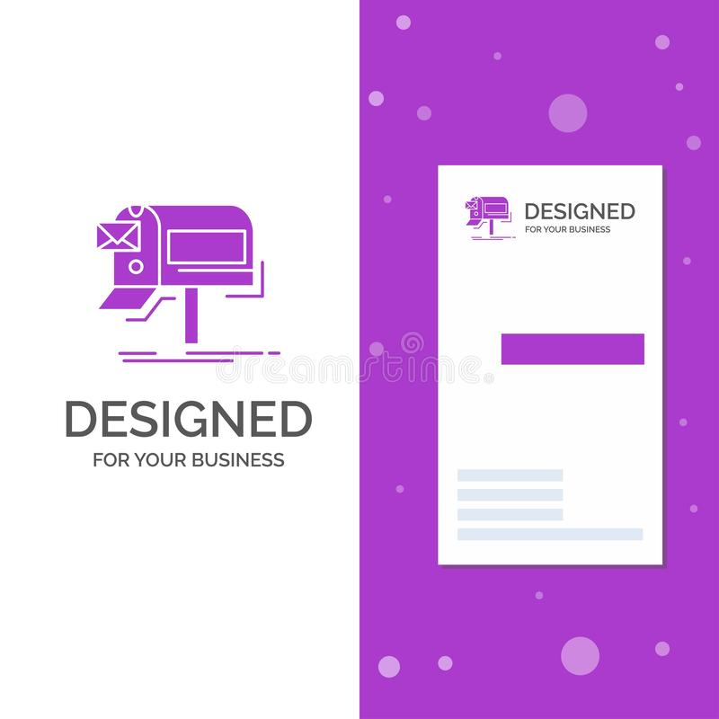 Business Logo for campaigns, email, marketing, newsletter, mail. Vertical Purple Business / Visiting Card template. Creative. Background vector illustration royalty free illustration