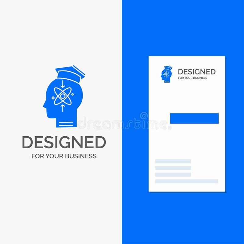 Business Logo for capability, head, human, knowledge, skill. Vertical Blue Business / Visiting Card template vector illustration