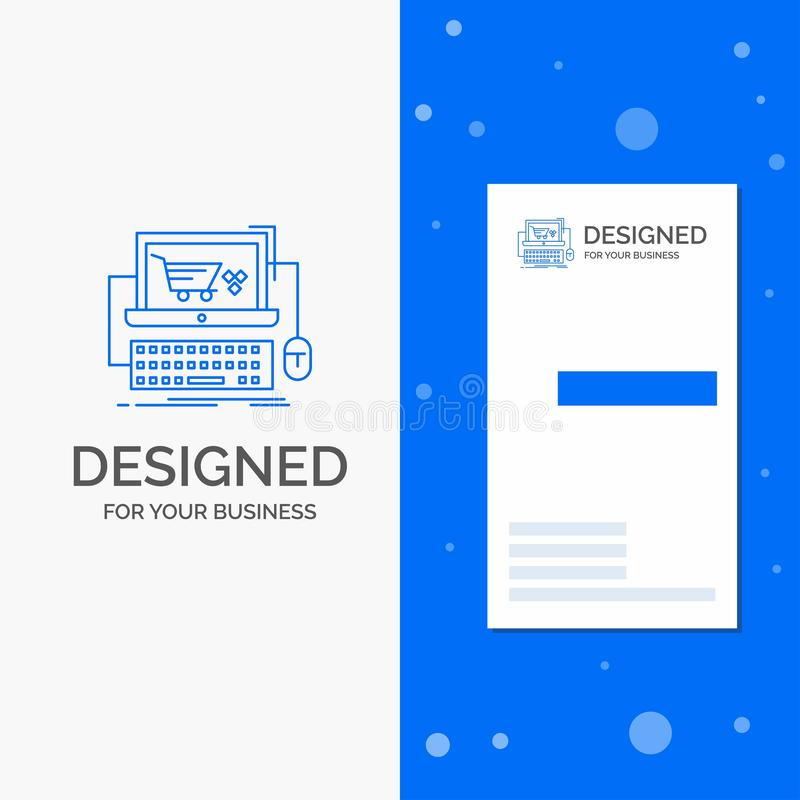Business Logo for Cart, online, shop, store, game. Vertical Blue Business / Visiting Card template stock illustration