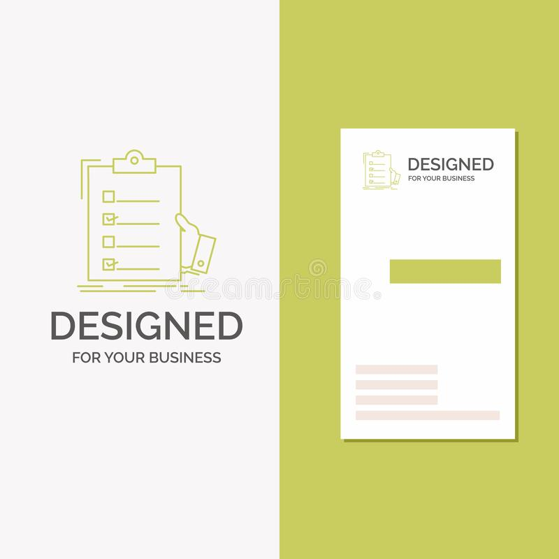 Business Logo for checklist, check, expertise, list, clipboard. Vertical Green Business / Visiting Card template. Creative vector illustration