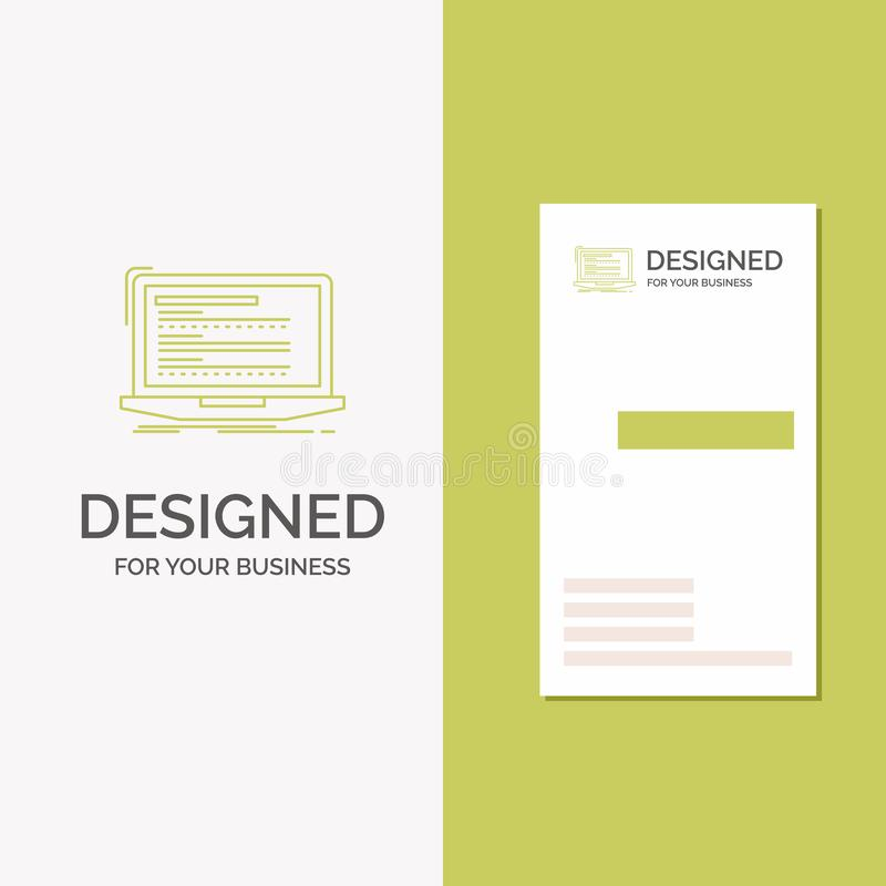 Business Logo for Code, coding, computer, monoblock, laptop. Vertical Green Business / Visiting Card template. Creative background. Vector illustration. Vector vector illustration
